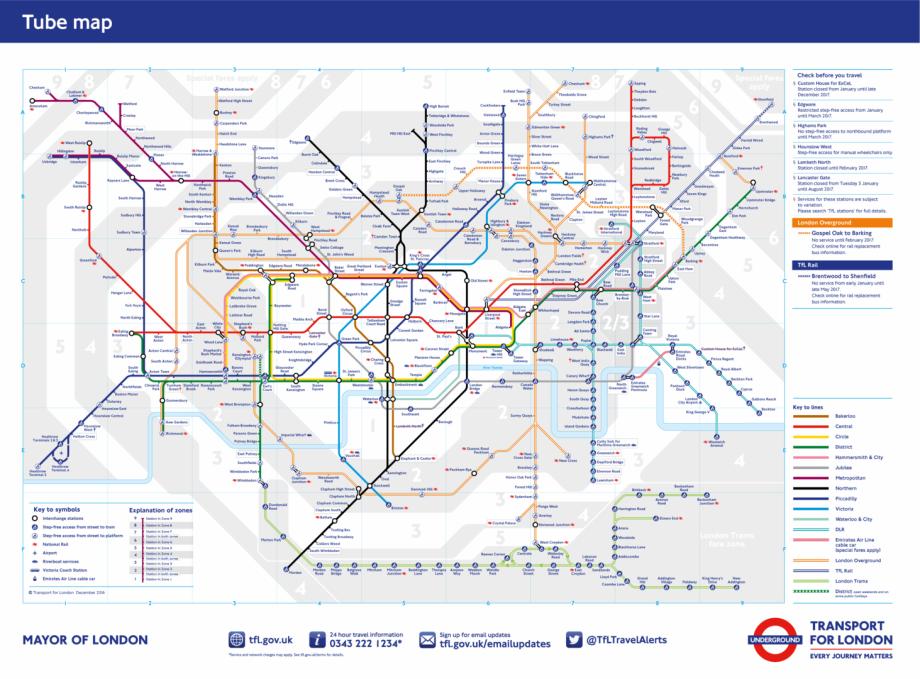 Londres metro mapa tfl